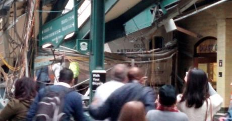 Onlookers view a New Jersey Transit train that derailed and crashed through the station in Hoboken, New Jersey, U.S. in this picture courtesy of Chris Lantero taken September 29, 2016. Courtesy of Chris Lantero via REUTERS